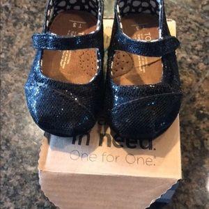 Sparkly black Toms   Size T3
